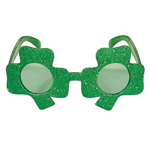 Unbekannt 2 Pairs Von Clover Gläser Shamrock Form Glitter Eye Gläser St.Patricks Tag Kostüm - St Patricks Tag Kostüm