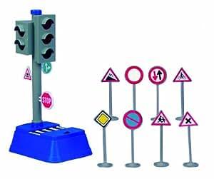 Dickie 20 331 3051 - Set segnali stradali con Semaforo e 8 Cartelli