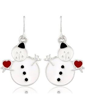 Weihnachtsschmuck-Ohrringe, Motiv: putziger Schneemann, Ohrringe, in Geschenkbox