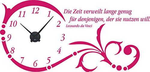 GRAZDesign 800331_BK_041 Wandtattoo Uhr mit Uhrwerk Wanduhr Ornament Spruch Zitat Wohnzimmer (119x57cm // 041 pink // Uhrwerk schwarz)