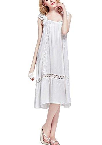 Cheerlife Wunderschön Damen Baumwolle Nachthemd mit Lochstickerei und Volants Schlafkleid Nachtkleid Nachtwäsche Sleepshirt lang (34(Hersteller Gr.S), Weiß) (Nachthemd Volant)