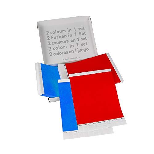 Doppio Pacchetto! GA Event Solutions Braccialetti di identificazione Tyvek, Rosso + Azzurro, 500+500 pezzi
