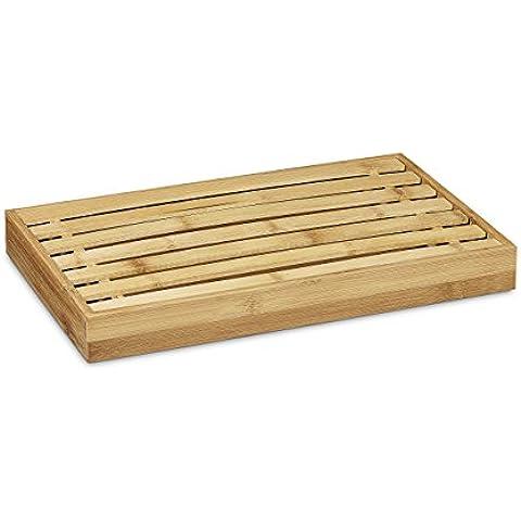 Relaxdays - Tabla de cortar pan con rejilla para migas, hecho de bambú, 4 x 38 x 23,5 cm, resistente y fácil de limpiar, color