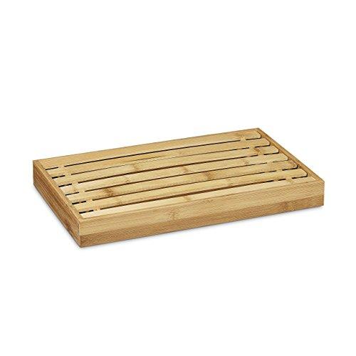 Relaxdays Brotschneidebrett aus Bambus H x B x T: ca. 4 x 38 x 23,5 cm mit Krümelfach zur leichten Reinigung Brotbrett mit herausnehmbarem Krümelgitter Schneidebrett messerschonend Holzbrett, natur