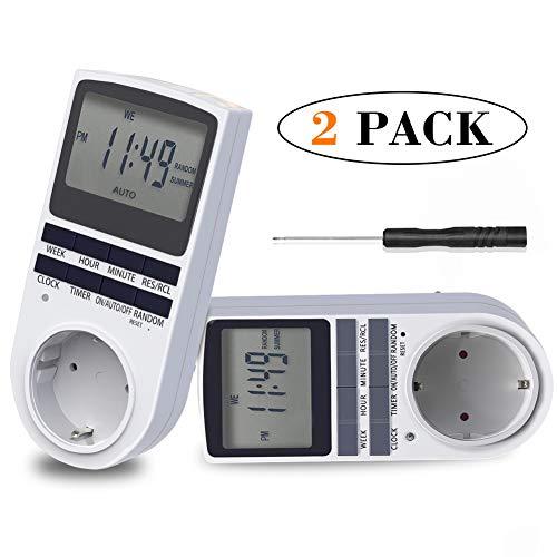 Digitale Zeitschaltuhr, BMK 2x Digitale Elektrische Zeitschaltuhr Steckdose mit Reset-Tool Timer LCD-Display und 10 x Programmierbaren Schalter und Random Diebstahlsicherung (2er Sets)