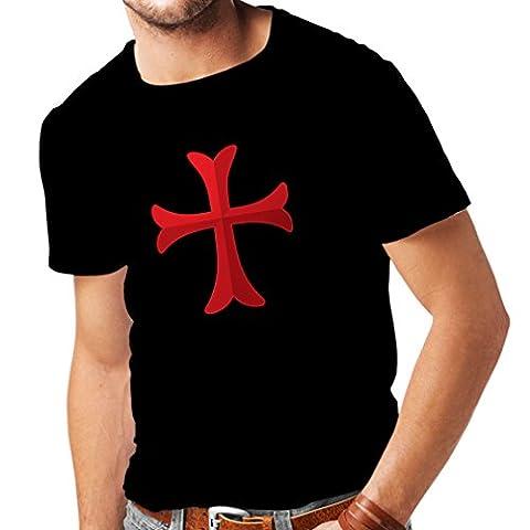 T-shirt pour hommes Chevalière Croix Rouge les templiers (X-Large Noir Multicolore)