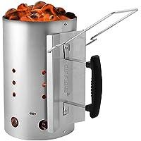 Aparato de encendido para parrillas y barbacoas de Amos, encendedor rápido de briquetas y carbón vegetal para camping y barbacoa de acero galvanizado juego ...
