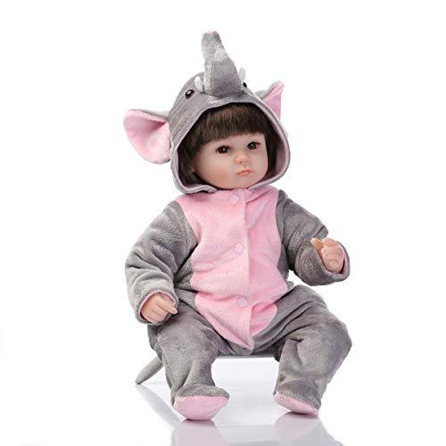 Terabithia 17 Pulgadas Realista Coleccionable pequeño Elefante renacido bebé niña niño muñecas en Vinilo de Silicona Disfraces de Cosplay para niños