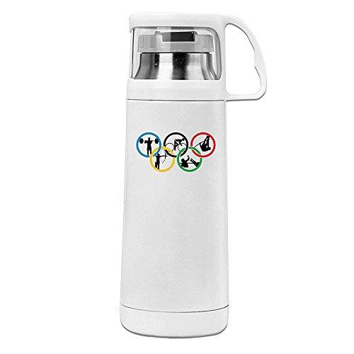 Handson Edelstahl Vakuum Isoliert Isolierung Cup mit der Ringe behandelt Reisen Tumbler weiß 14oz/350ml (Wwe Tickets)