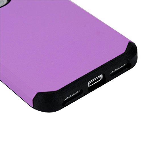 Coque iPhone 7, Yokata Case 2 en 1 Design Étui Soft Doux TPU Silicone Armure Flexible Backcover Ultra Mince Crystal Coque + 1*Stylet - Gris Pourpre