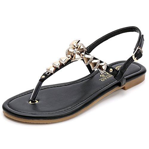 SUNAVY Damen Slingback Römer Sandalen Flip-Flops Sommer Strand Schuhe mit Süß Bling Metall Glocke (EU33 - EU39) Schwarz