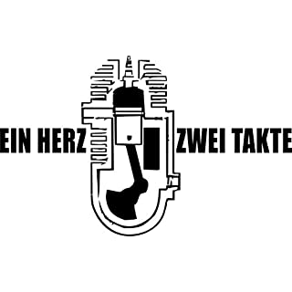 Autoaufkleber – 'Ein Herz – 2 Takte' – Oldtimer – Motor – Trabi – Motoren – Fahrzeuge – Trabant // KFZ-Aufkleber – Wetterfest // verschiedene Farben und Größen (Silber - 600 mm x 370 mm)
