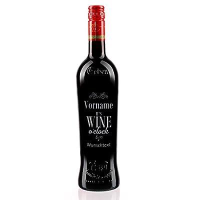private Wine Erben Dornfelder halbtrocken (1 x 0.75 l) gravierte Weinflasche It's wine o'clock mit Name + Wunschtext
