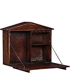 Aarsun Woods Handmade Wooden Wall Hanging Bar Cabinet