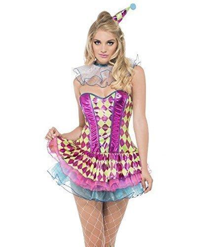 Damen Sexy Fever Intensives Rosa Harlekin Circus Clown Carnival Junggesellinnenabschied Halloween Kostüm kostüm UK 4-14 - Rosa, 12-14 (Junggesellinnenabschied Kostüme Uk)