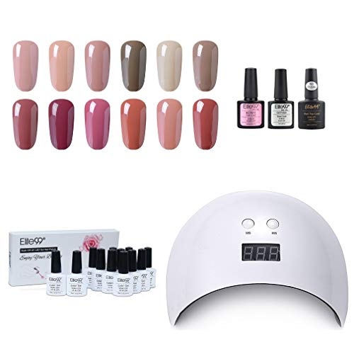 Elite99 smalto semipermanente per unghie gel polish kit di partenza in 12 coloris e gel 24w led lampada uv nail soak off nail art manicure op & base coat set per manicure 10ml - set05