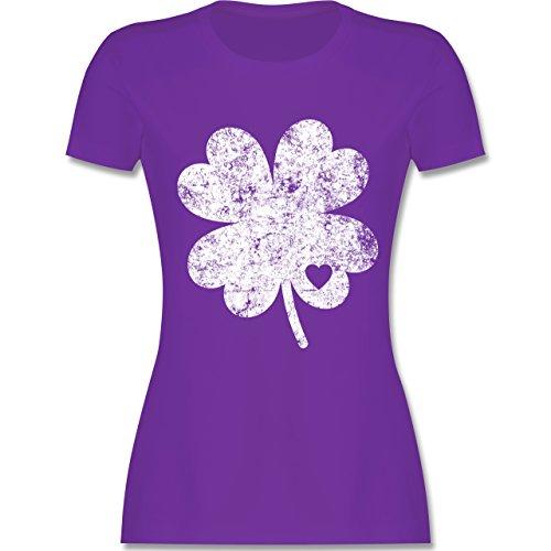 St. Patricks Day - Vintage Kleeblatt mit Herz - M - Lila - L191 - Damen Tshirt und Frauen T-Shirt -