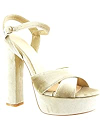 Beige it Amazon Sandali Alto Decolletè Tacco Scarpe Donna Da Swq1qBU