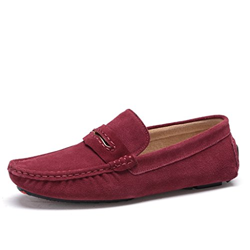 Minitoo Men's gestreift, verklagt Leder Mokassins Slipper Boat Shoes Weinrot