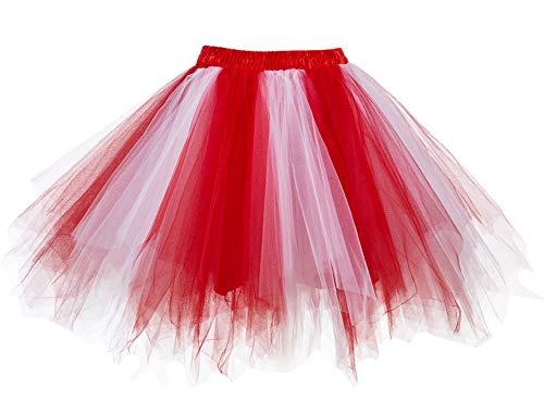 Facent Damen Kurz Tutu Rock Tüllrock Tütü Crinoline Minirock Reifrock Unterrock Kleid Tüll Übergröße Rot Weiß