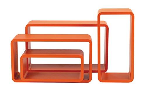 King Home m1106012/et Set 4pièces étagère rectangulaire Courbe, Orange, 50x 16x 30h 45x 16x 25h 40x 16x 20H 35x 16x 15H