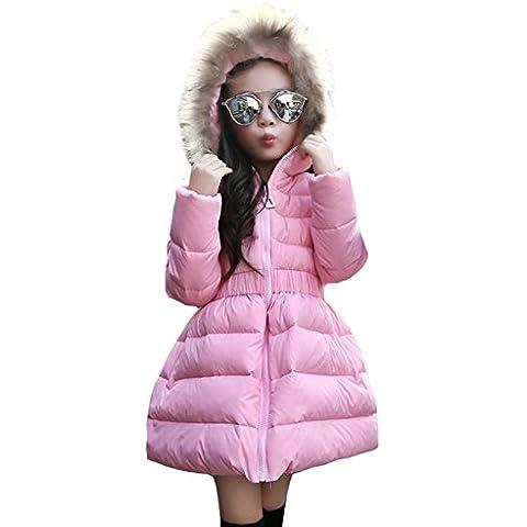 Niñas abrigo Cintura de la cremallera chaquetas de plumón de pato blanco cálido con capucha para niños de invierno para exteriores