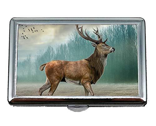 Pocket Case/Zigarettenetui, Hirsch Holz Nebel Gras Vogel Name Card Case