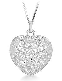 Tuscany Silver Rolokette Mit Anhänger Sterling Silber Groß Filigran Aufgeblasen Herz Einstellbar 41cm/16zoll - 46cm/18zoll