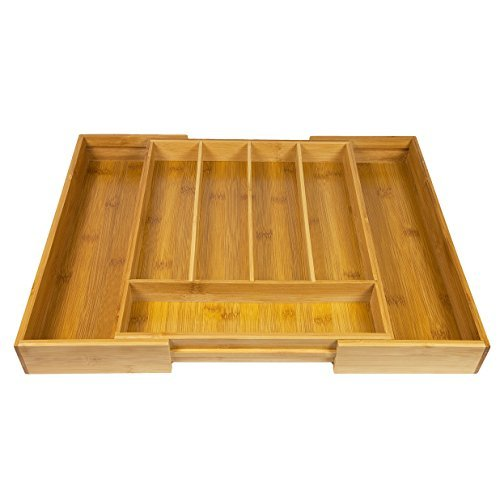 Woodluv Expandable 5-7 Compartments Bamboo Wooden Kitchen Cutlery Drawer Utensil Organizer Divider Tray
