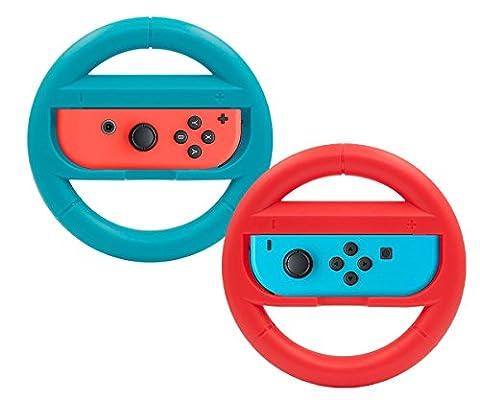 Joy-Con Steering Wheels TopAce Volant De Course Roue pour Nintendo Switch Contrôleur Grips (Bleu et Rouge)