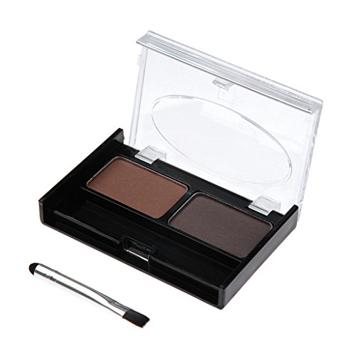 Professional 2 couleurs Sourcils Set poudre compacte poudre à sourcils avec une brosse - # 1