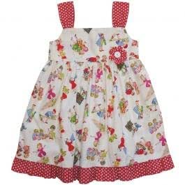 Powell Craft 100% Cotton Sleeveless Dress in Girls at Play Design Size 1-2yrs