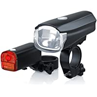 CSL - StVZO LED Fahrradbeleuchtung Set | Modell DG320 | Fahrradlampen / Fahrradlicht / Fahrradlampenset inkl. Front- und Rücklicht | helle LED (30 Lux) | energiesparend | Regen- und Stoßfest