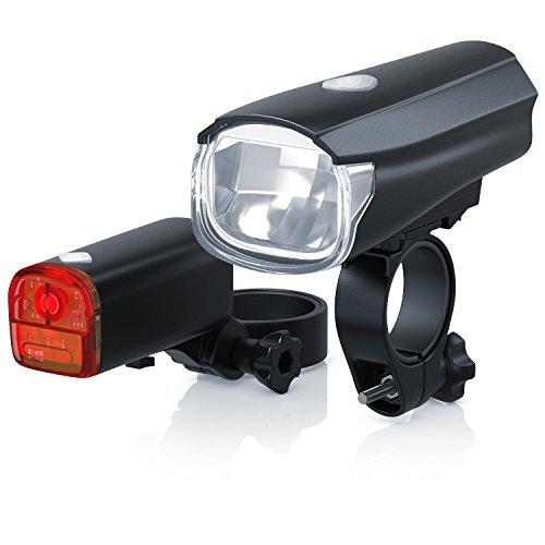 CSL - StVZO LED Fahrradbeleuchtung Set | Modell DG320 | Fahrradlampen/Fahrradlicht / Fahrradlampenset inkl. Front- und Rücklicht | helle LED (30 Lux) | energiesparend | Regen- und Stoßfest