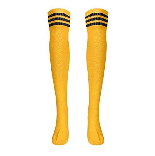 """Mädchen Sport Streifen Lange Socken,Amcool Über Knie Hohe Socken Baseball Eishockey Fußball (Gelb, 66cm/26.0"""")"""