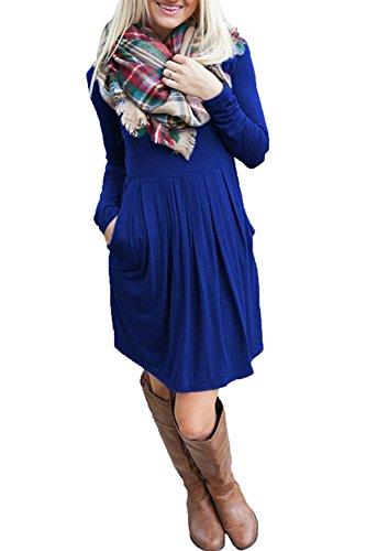 Minetom Damen Frühling Casual Lose Mode Skaterkleid Basic Kleid Normallack Langarm O-Ausschnitt Stretch A-Linie Slims Midi Dress Königsblau