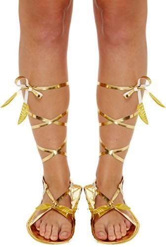 Römisch Griechisch Gladiator Krawatte Kostüm Kleid Outfit Flache Sandale Zubehör - Gold, eine Größe für Alle (Römisch-outfits Für Damen)