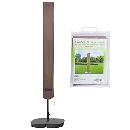 Schutzhülle für Sonnenschirm bis ca. Ø 400cm Premium Qualität aus hochwertigem 300GSM 600D Oxford Material - Taupe (Die Hitze-inseln)