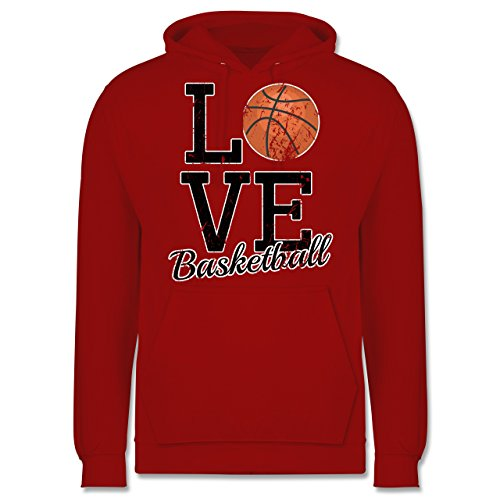 Basketball - Love Basketball - Männer Premium Kapuzenpullover / Hoodie Rot
