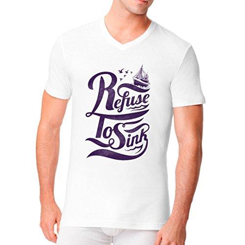Im-Shirt - Refuse To Sink cooles Fun Men V-Neck - verschiedene Farben Weiß