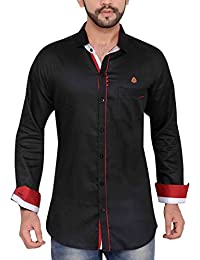 PP Shirts Men Black Coloured Partywear Shirt With Potli Button