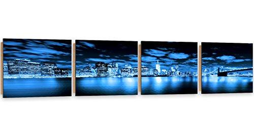 Feeby Frames, Tableau mural - 4 parties - Panoramique, Tableau Déco, Tableau imprimé, Tableau Deco Panel, 60x240 cm, BÂTIMENTS, ARCHITECTURE, GRATTE-CIEL, PONT DE BROOKLYN, NEW YORK, VILLE, EAU, BLEU
