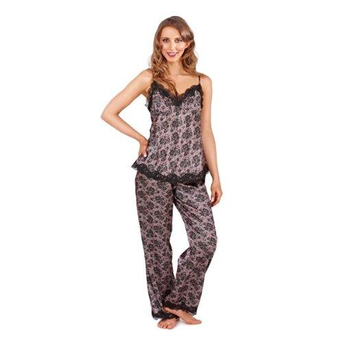 WOMENS SATIN NIGHTWARE PYJAMAS SET PJS 2 PIECE LOUNGE SET TOP + LONG PANTS GIRLS LADIES SIZE SMALL - LARGE