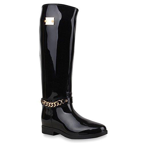Gesteppte Damen StiefelLack Gummistiefel Metallic Boots SchnallenAnimal Prints Wasserdichte Regen Schuhe 64386 Schwarz Kette 38 Flandell (Schwarze Regen Gesteppte Stiefel)