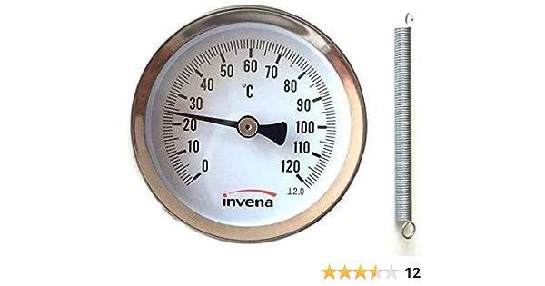 Invena Heim Industrielle Aufklammern Rohr Thermometer Temperaturanzeige Ziffernblatt Mit Feder 63mm 0 120 Gewerbe Industrie Wissenschaft