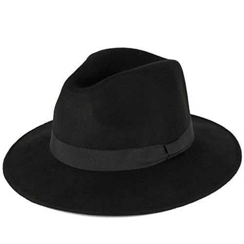 Men's Ladies Fedora Hat Plain Handmade - Fine Felt - Grosgrain Bow Style Band - Black (Accessoires Michael Jackson)