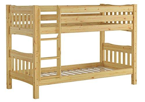 Erst-Holz® Etagenbett Kiefer Natur Massivholzbett 90x200 Stockbett Hochbett Rollroste 60.15-09 Ni70