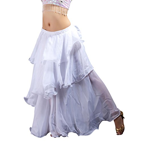 YiJee Danza del Vientre de 3 Capas Falda Larga Traje de la Danza Blanco