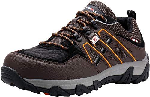 LARNMERN Sicherheitsschuhe Arbeitsschuhe Herren, Sicherheit Stahlkappe Stahlsohle Anti-Perforations Luftdurchlässige Schuhe, Braun L1032, 45 EU