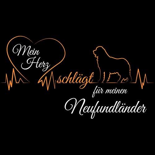 Fashionalarm Herren College Jacke - Mein Herz schlägt für meinen Neufundländer | Baseball Sweatjacke als Geschenk Idee Hundeliebhaber Schwarz / Weiß